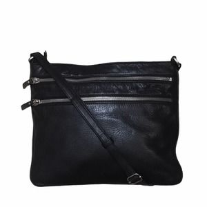 Margot Leather Double Zip Crossbody Black Bag